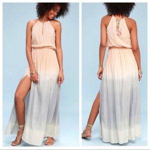 NEW Lulus Dip Dye Ombre Ombr Blush Pink Maxi Dress